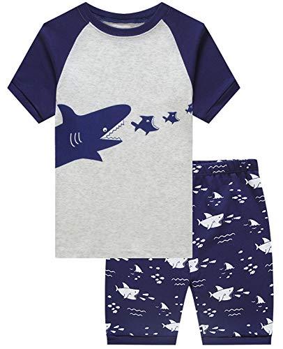 (Boys Pajamas Shark Short Sets Toddler Pjs Clothes Kids Sleepwear Summer Shirts Size 12)