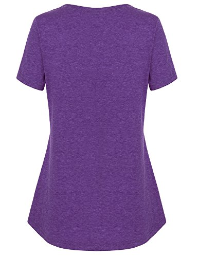 Hellmei Nursing Clothes for Breastfeeding, Short Sleeve Maternity Shirt Tunic Feeding Flattering Cotton Blend Trapeze Double Layered Tops Pregnancy Nursing Outfits for Women Violet Large by Hellmei (Image #2)
