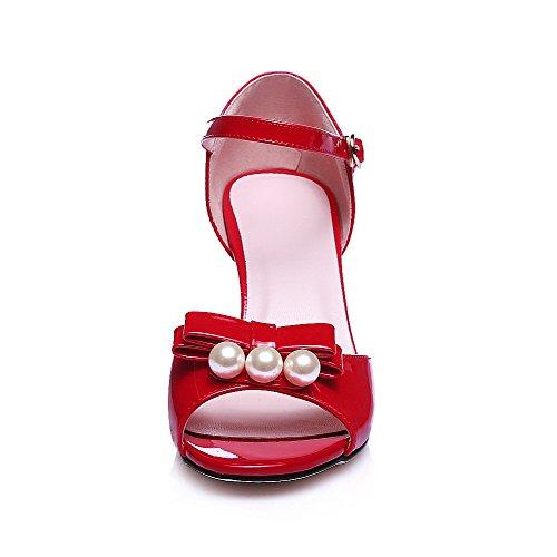 AgooLar Women's High-Heels Patent Leather Solid Buckle Peep Toe Sandals Red jGXBtU