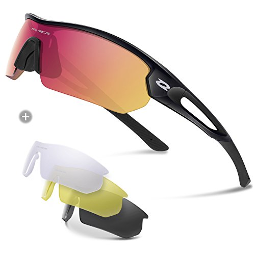 RIVBOS Polarized Sports Sunglasses Sun Glasses with 4 Interchangeable Lenses for Men Women Baseball Cycling Running TR90 Frame RB832 (Black Ice Red Lens) - Sunglass Online Man