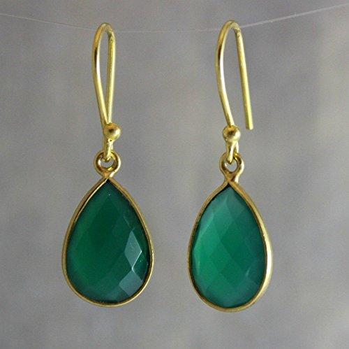 Onyx Earrings Green (Green Onyx Gemstone Drop Shape Gold Plated Sterling Silver Earrings Earwires Bridal Wedding Jewelry)