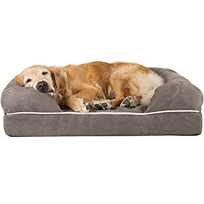 """Friends Forever 100% Suede Large Dog Bed / Lounge, Prestige Edition (36 x 28 x 9"""") (Pewter)"""
