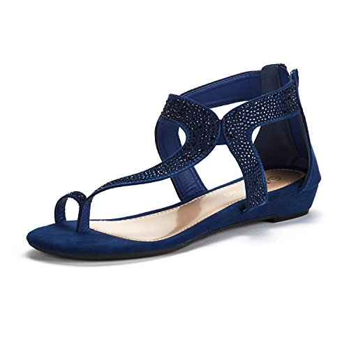 DREAM PAIRS Women's Weitz_02 Navy Fashion Rhinestones Low Wedge Sandals Size 6 M - Thong Sandals Low Blue