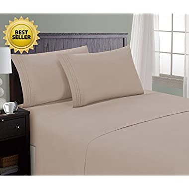 HC Collection Bed Sheet & Pillowcase Set HOTEL LUXURY 1800 Series Egyptian Quality Bedding Collection! Deep Pocket, Wrinkle & Fade Resistant,Luxurious,Comfortable,Extremely Durable(Cal King, Taupe)