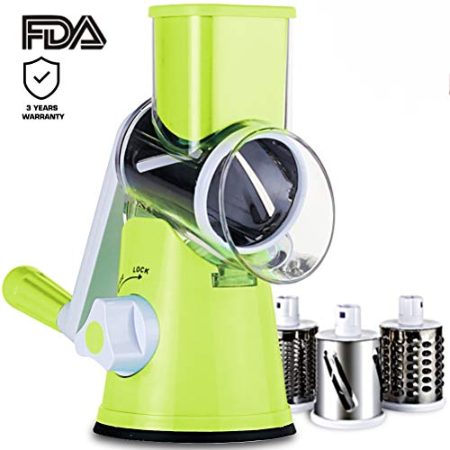 SLC Swift Rotary Drum Grater Vegetable Cheese Cutter Slicer Shredder Grinder with 3 Interchanging Ultra Sharp Cylinders Stainless Steel ()
