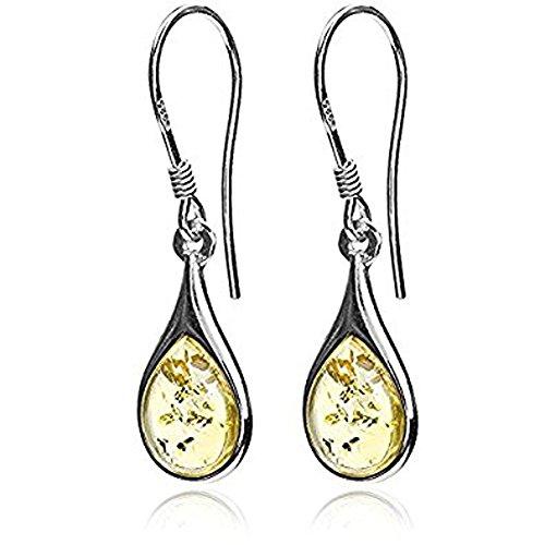 (Sterling Silver Light Amber Drops Dangle Hook Earrings)