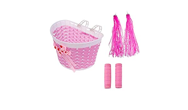 Bicycle Front Basket for Kids Girl Bike Pink Shopping Basket Holder w// Strap