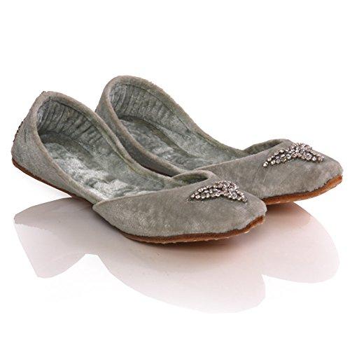 Unze Girls  Sia  Leder Embellished Fashion Indische Khussa -Schuhe - LS275 K Silber
