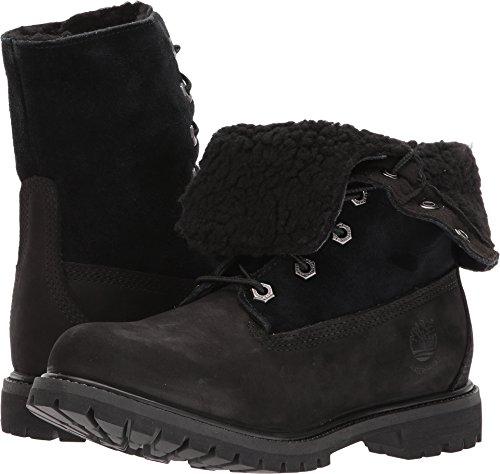 thentics Teddy Fleece Waterproof Fold-Down Black Nubuck Boot - 9 M (Black Snow Fleece)