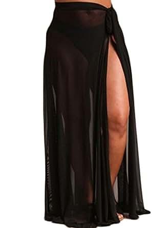 gllive Women Sexy Beach Sarong Sheer Chiffon Side Tie Split Bikini Cover Up Maxi Long Skirt Swimsuit Wrap Pareo (L, Black)