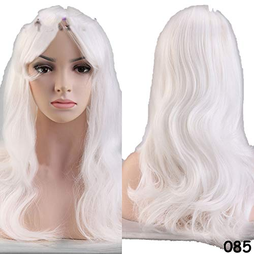 (56CM Loose Wave Synthetic Wigs for black women Cosplay wig Blonde Blue Red Pink Grey Purple Hair for human)