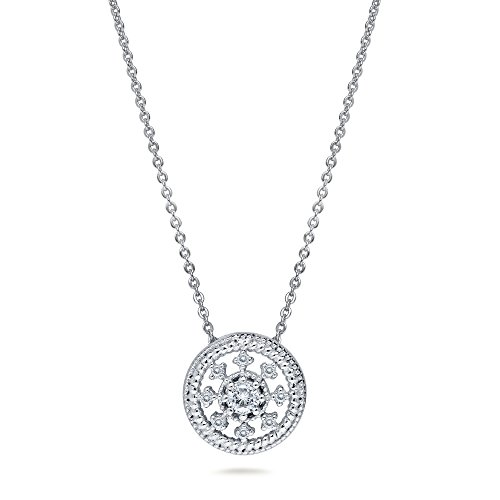 BERRICLE Rhodium Plated Sterling Silver Cubic Zirconia CZ Art Deco Medallion Fashion Pendant 18