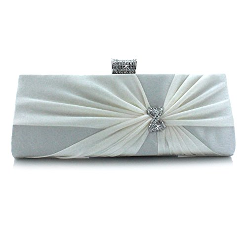 Satin Beige Bridal Evening Prom Clutch Party Designer Diamante Wedding Pleated Bag New Bag Womens' wTIqnTOz