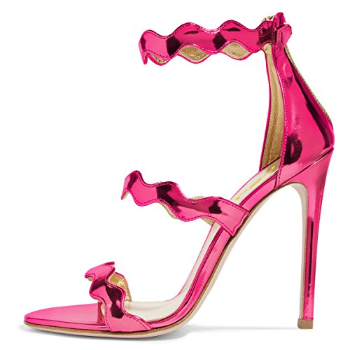 FSJ Women Hot Open Toe Strappy Heeled Sandals Suede Dress Shoes For Party Size 4-15 US Fuchsia buy cheap big sale enjoy for sale pictures discount fashionable free shipping finishline nUh2V