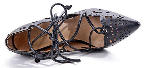 Easemax Mujeres Dressy Stiletto Puntiagudos Con Cordones De Tacón Alto Hollow Out Low Top Pumps Zapatos Black