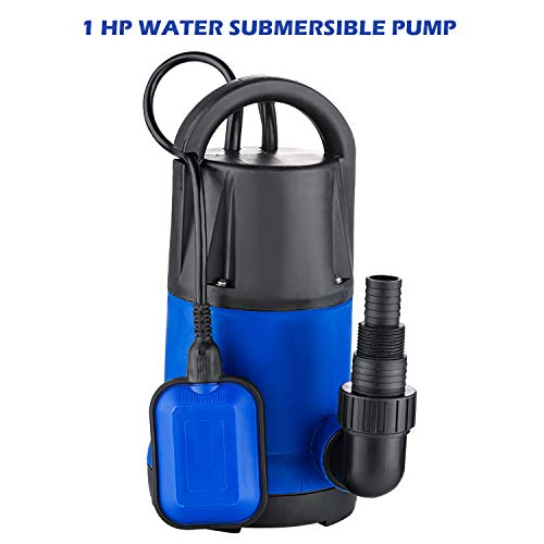 (Submersible Water Pump,1 HP 1100W 3400GPH Sump Water Pump Suitable for Dirty Water, Swimming Pools, Flooded Cellars, Large Ponds & More (Blue-1))