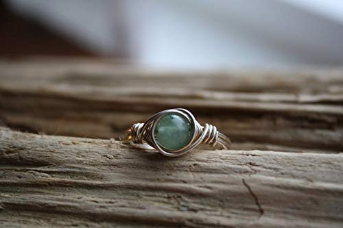 (Green Adventurine Wire Wrapped Ring, Sterling Silver Ring, Gemstone Rings, Silver and Green Beach Jewelry, Handmade Solitare Rings, Sterling & Rose Studio)