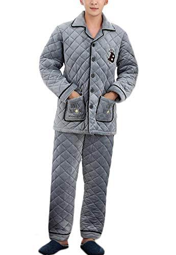 A Inverno Spesso Pigiama Pigiami Set Caldo Da Uomo Gray Abbigliamento Autunno Pile 2xl Strati Colore Dimensioni Corallo Casual Accappatoio Casa In Di E Trapuntato Tre qIqwOrH6A