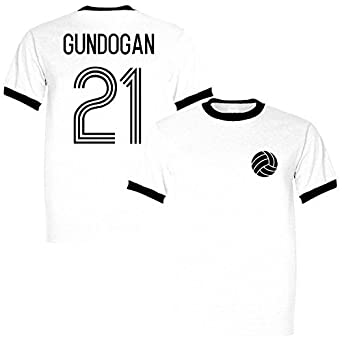 the latest 81d19 77757 Ilkay Gundogan 21 Germany Legend Ringer Retro T-Shirt White ...