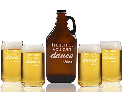 Chloe and Madison ''Trust me you Can Dance Beer'' Amber Growler & Can Glasses, Set of 5 by Chloe and Madison