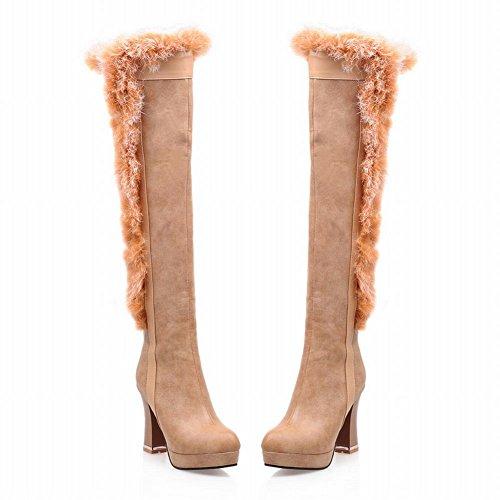 Carolbar Donna Eleganza Cerniera Fibbia Faux Fur Inverno Moda Neve Piattaforma Tacco Alto Abito Alto Stivali Albicocca