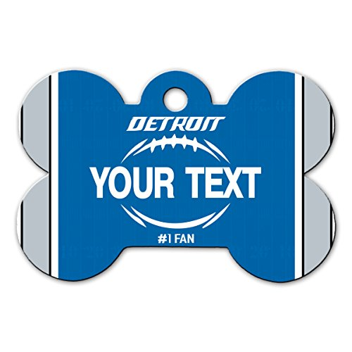BleuReign(TM Personalized Custom Name Football Detroit License Plate Bone Shaped Metal Pet ID Tag with Contact Information