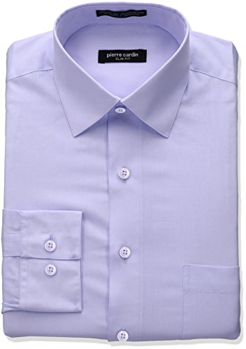 Pierre Cardin Men's Slim Fit Solid Broadcloth Semi Spread Collar Shirt, Violet, 14