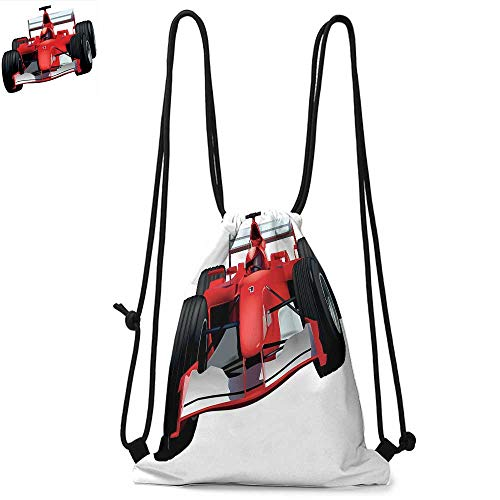 Cars Printed drawstring backpack Formula Race Car with the Driver Automobile Motorized Sports Theme Strong Engine Suitable for school or travel W17.3 x L13.4 Inch Red Black White