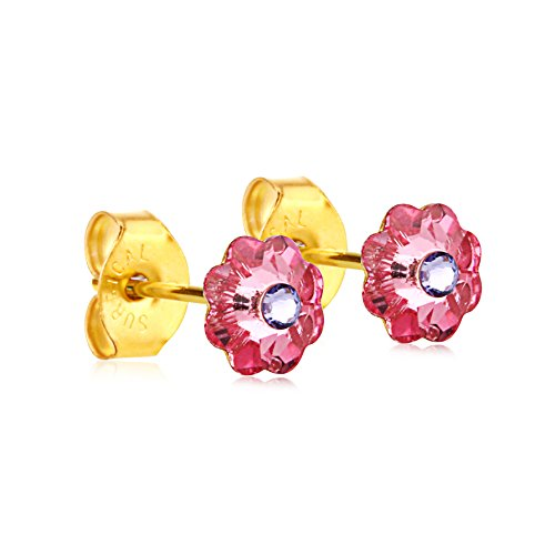 6mm Stud Earrings for Women & Girls| Swarovski Flower Crystals, 14K Gold Plated| Made With Hypoallergenic, Surgical Stainless Steel| Jewelry Gifts by Clecceli (Pink & Violet)
