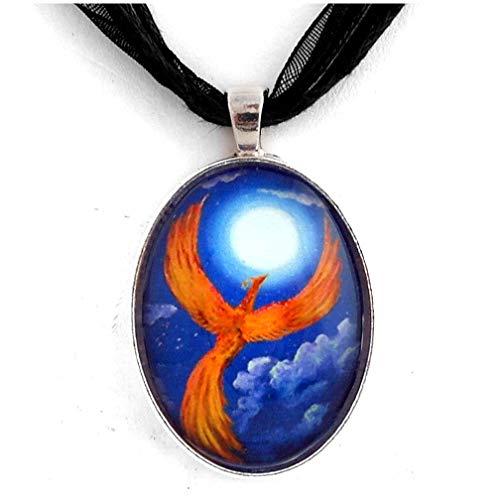 (Laura Milnor Iverson Phoenix Firebird Necklace Handmade Fantasy Art Pendant Jewelry Orange Blue Moon Night Stars)