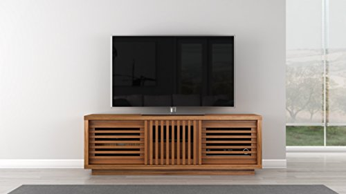 Furnitech Contemporary Rustic TV Stand Media Console for Flat Screen and Audio Video Installations, 64″, Honey Oak