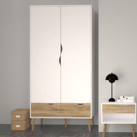 Tvilum Diana 2 Drawer and 2 Door, WardrobeWhite/Oak Structure + Handi Wipes (Door Bedroom 2 Dresser)