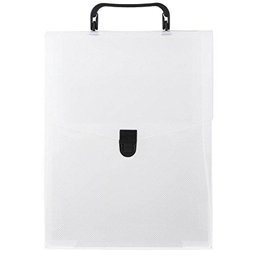 JAM Paper Plastic Portfolio Vertical Briefcase with Handles - 9 1/4
