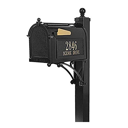 Whitehall Deluxe Mailbox Post - Whitehall Products Streetside Deluxe Capitol Mailbox Package (Black)