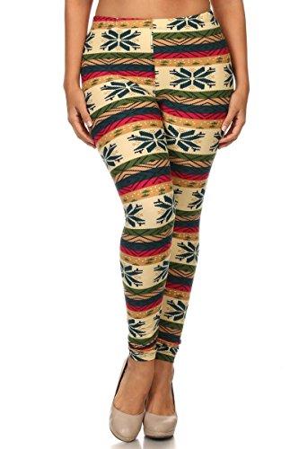Always Fair Isle Print Leggings for Big Women - XL Printed Leggings