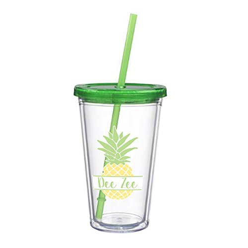 Delta Zeta Nickname Pineapple Sticker on plastic Tumbler Greek Sorority Decal 16 oz. BPA - Store Return Coach Policy