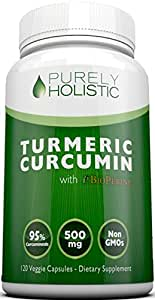 Turmeric Curcumin Capsules ★ 100% MONEY BACK GUARANTEE ★ - with BioPerine Black Pepper Extract, Aids Absorption - Without This it Won't Work.120 Veggie 500mg Turmeric Supplement, 95% Curcuminoids