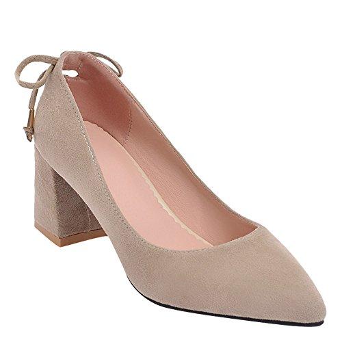 Carolbar Femmes Bout Pointu Bowknots Bureau Dame Mi-talon Pompes Chaussures Beige