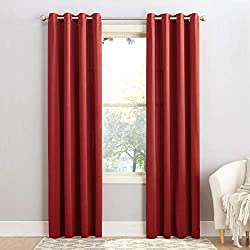 "Sun Zero Barrow Energy Efficient Grommet Curtain Panel,Brick Red,54"" x 84"""