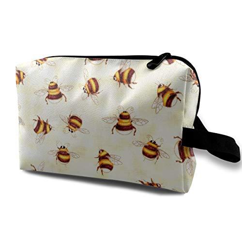 With Wristlet Cosmetic Bags Honey Bees Travel Portable Makeup Bag Zipper Wallet Hangbag -
