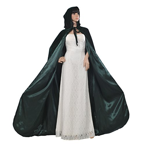 AW Gothic/Medieval Hooded Cloak Long Velvet Cape for Wedding Halloween Cosplay Christmas Costumes, Dark Green, L