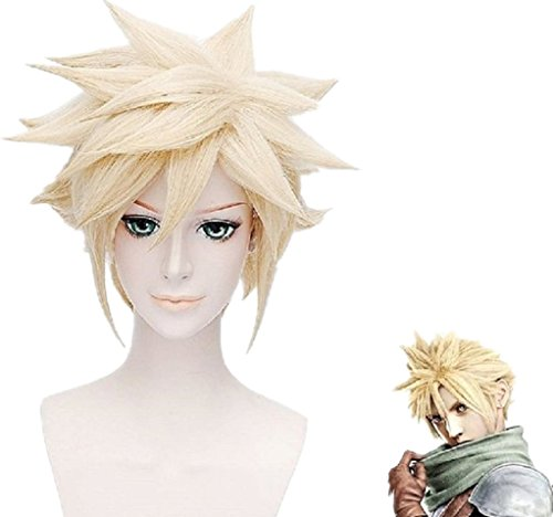 Cloud Strife Halloween Costume (Cloud Strife Short Blonde Anime Hair Cosplay Party Halloween Wig + Wig Cap)