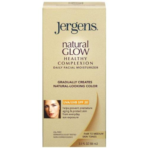 Jergens Natural Glow Healthy Teint Hydratant quotidien du visage, SPF 20, juste au Moyen Tan, 2 once