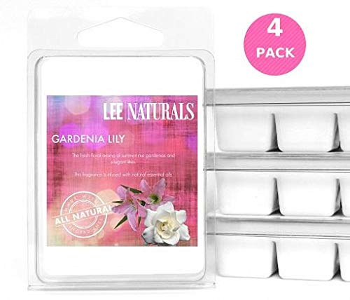 Lee Naturals Classic Collection - (4 Pack) GARDENIA LILY Premium All Natural 6-Piece Soy Wax Melts. Hand Poured Naturally Strong Scented Soy Wax Candle Cubes