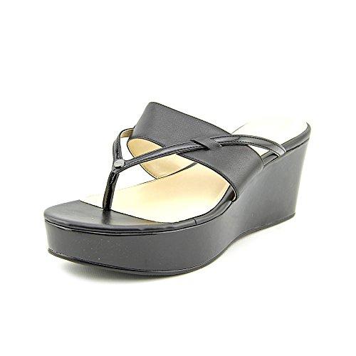 Calvin Klein Gabriella Womens Size 11 Black Open Toe Leather Wedge Sandals Shoes