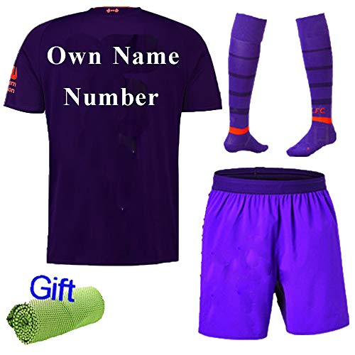 Liverpool Away Kit - FC FirstClass 2019 Football Soccer Club Outfits Short Sleeve Purple Away Kit for Kids 3-12 Years Sportwear with Socks and Free Ice Face Cloth (9-10 Years, Own Name and Number)