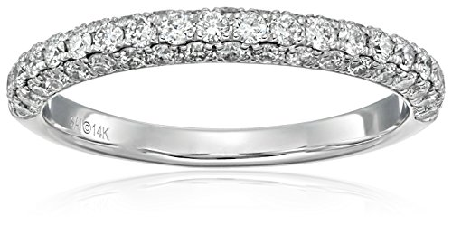 14k White Gold 3/4 cttw Diamond Anniversary Band Ring (H-I Color, I2 Clarity), Size 7 (Vintage Platinum Diamond Ring compare prices)