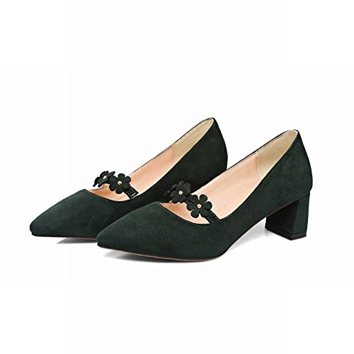 Mee Shoes Women's Sexy Mid Heel Block Heel Pointed Toe Flower Court Shoes Green 0A4hQgz4Cd
