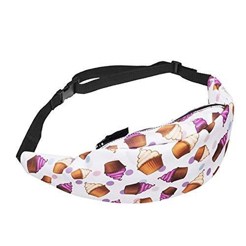JITALFASH 2019 New Waist Back Full Black 3D Print Waist Bag Women Fanny Pack Belt Waist Pack for Men YB006-8 OneSize