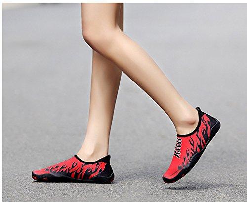 nadar para deportivos Zapatos Zapatos Huaihsu caminar suela Summer con para antideslizantes Gym mujer Yoga Rojo blanda Zapatos de Uqwf8F
